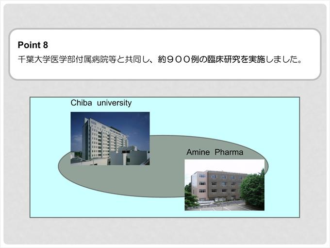 ポイント8 千葉大学医学部付属病院等と共同し、約900例の臨床研究を実施しました。